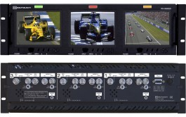 RX-563SDI : Rackmounted Triple 5.6 Inch LCD Video Monitor with SD-SDI, Composite, Integrated Analog Audio